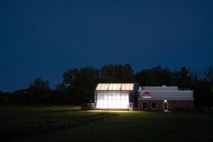 Inari greenhouse at night