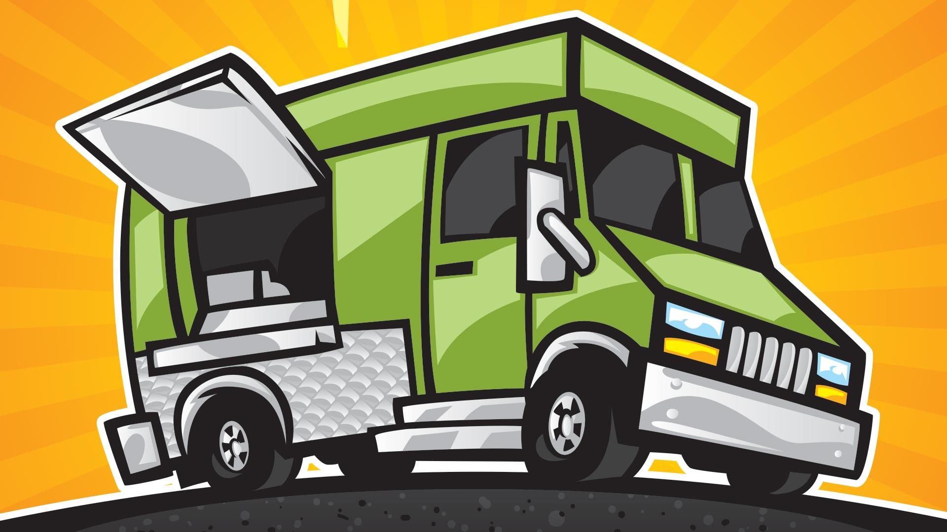 Clip art of green food truck